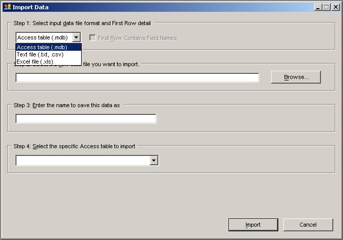 KB Customer Manager import screen