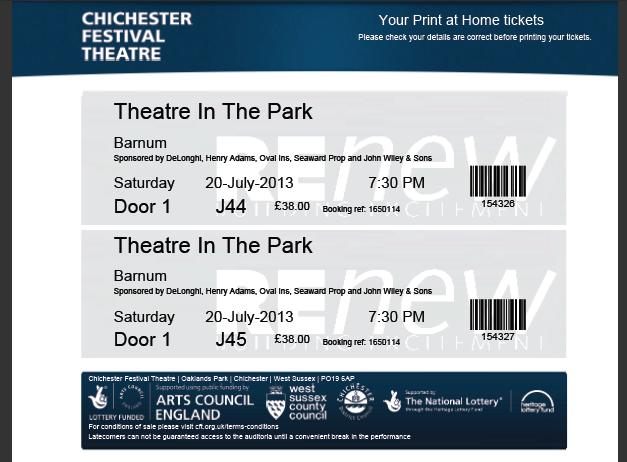 example Print @ Home ticket